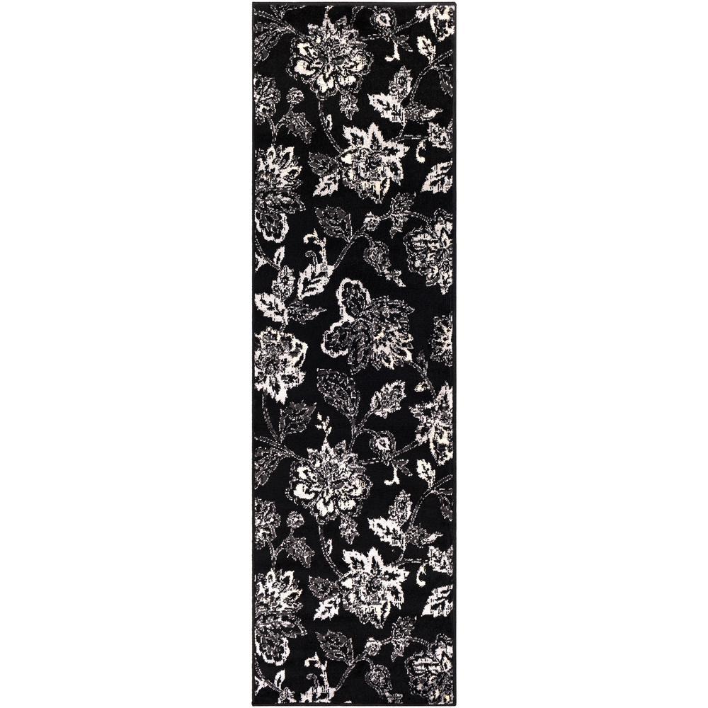 Sora Black 2 ft. 2 in. x 7 ft. 6 in. Floral Runner Rug