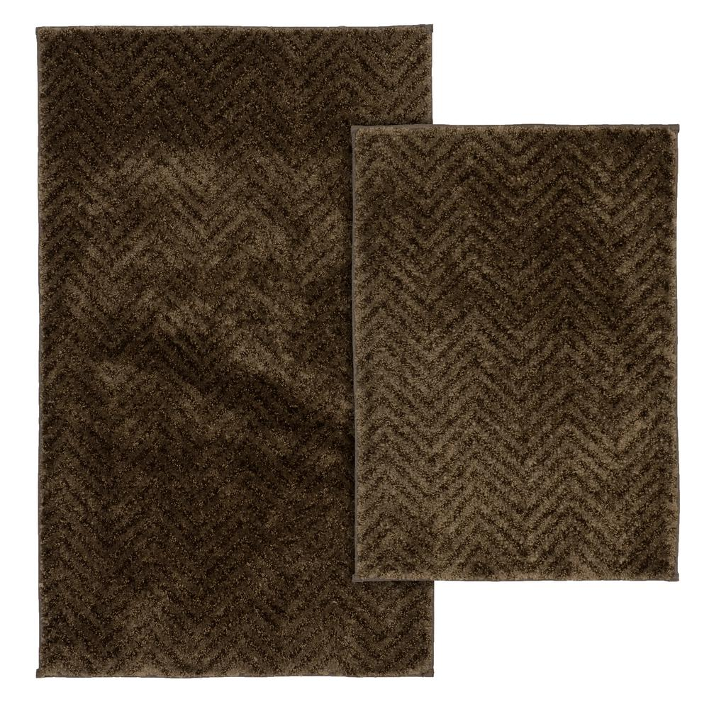 Palazzo 2 Piece Rug Washable Bathroom Rug Set in Chocolate