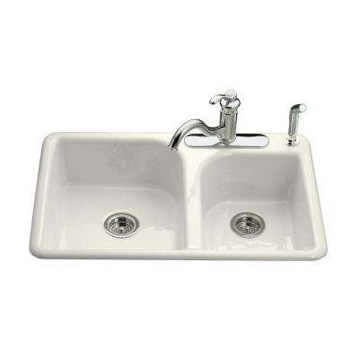 Efficiency Drop-In Cast-Iron 33 in. 3-Hole Double Bowl Kitchen Sink in Biscuit