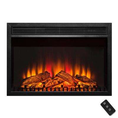 30 in. 1400-Watt Freestanding Electric Fireplace Heater in Black with Logs and Remote Control