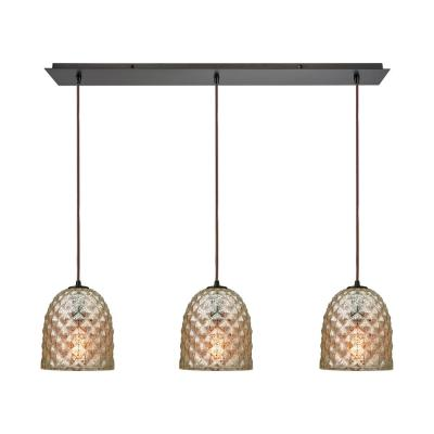 Brimley 3-Light Linear Pan in Oil Rubbed Bronze with Raised Diamond Texture Mercury Glass Pendant