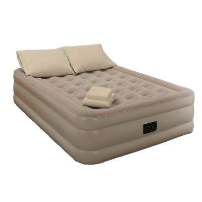 Queen 18 in. Taupe Bedding and Air Mattress Set