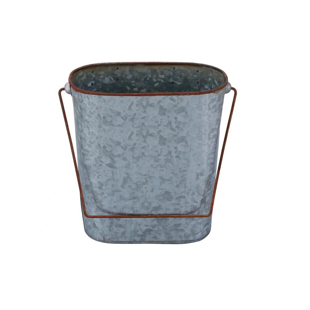 Iron Bucket Design Toilet Paper Holder Wall Rack in Gray