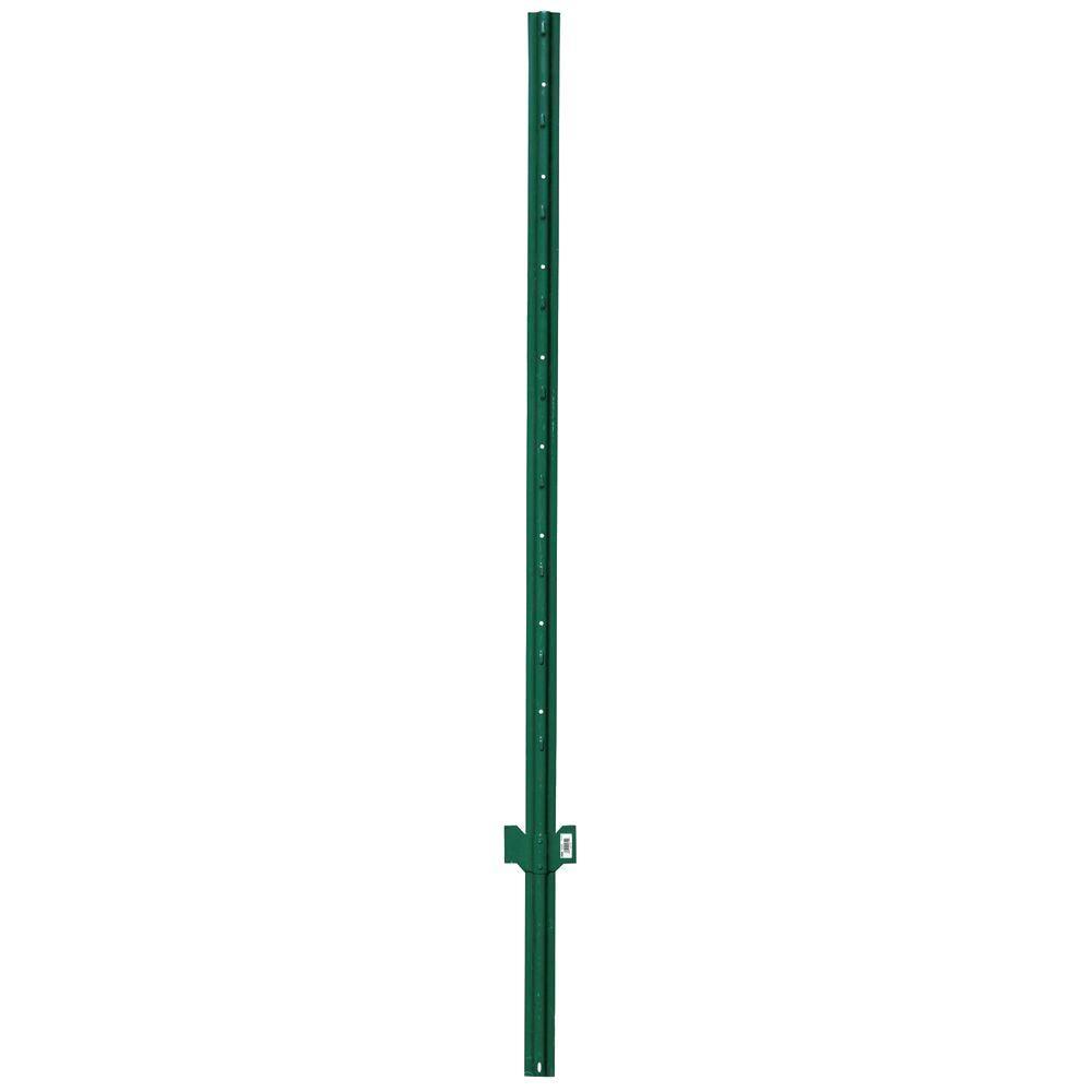 HDX 6 ft. x 2 in. x 1 in. 13-Gauge Steel Heavy Duty Green Powder Coat U-Post