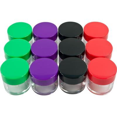 12-Piece 20 mL Clear Plastic Storage Jars with Colored Lids