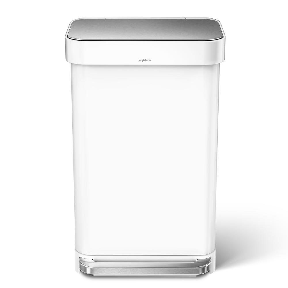 simplehuman 45-Liter White Stainless Steel Rectangular Liner Rim Step-On  Trash Can