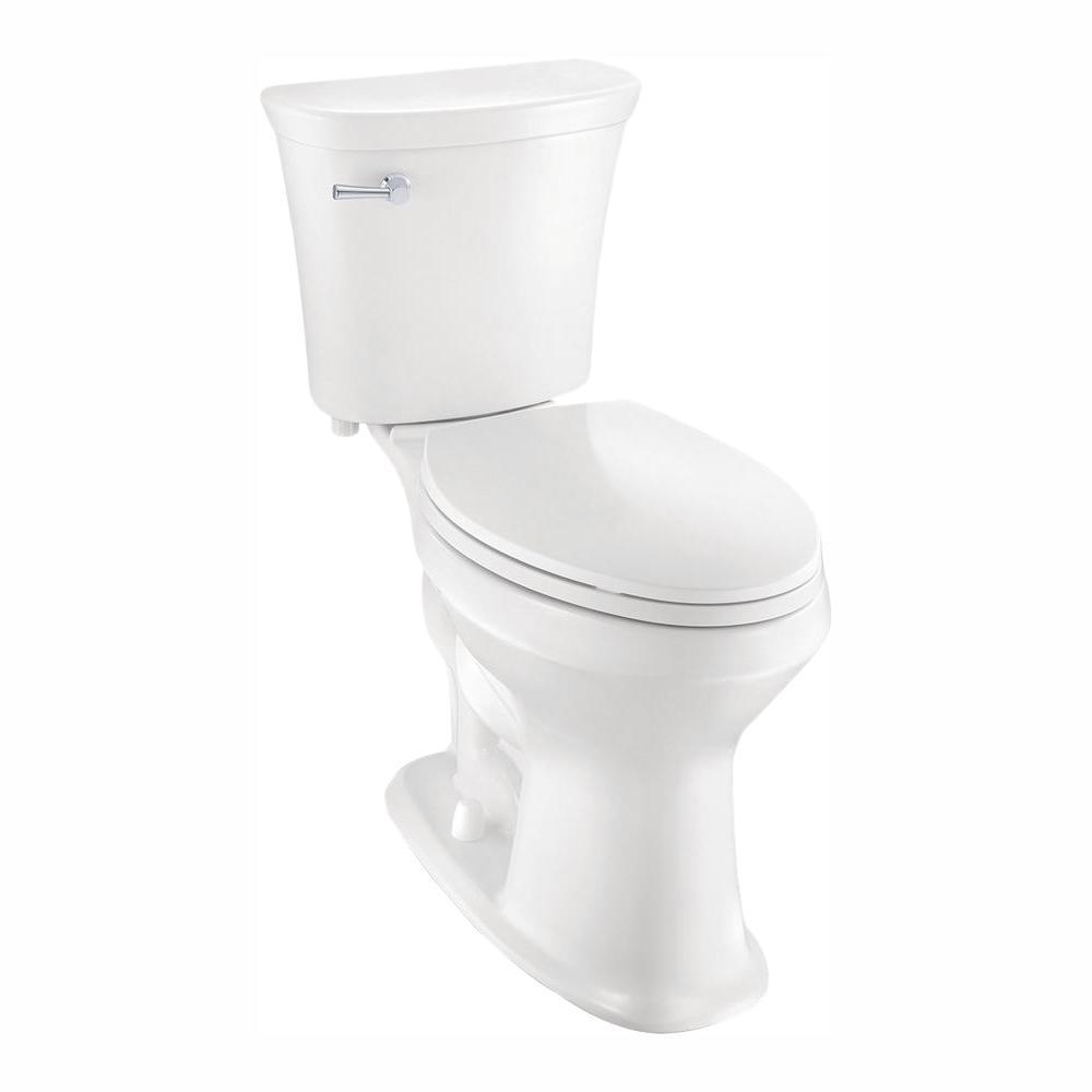 Glacier Bay 2-Piece 1.28 GPF Single Flush Elongated SuperClean Toilet in White