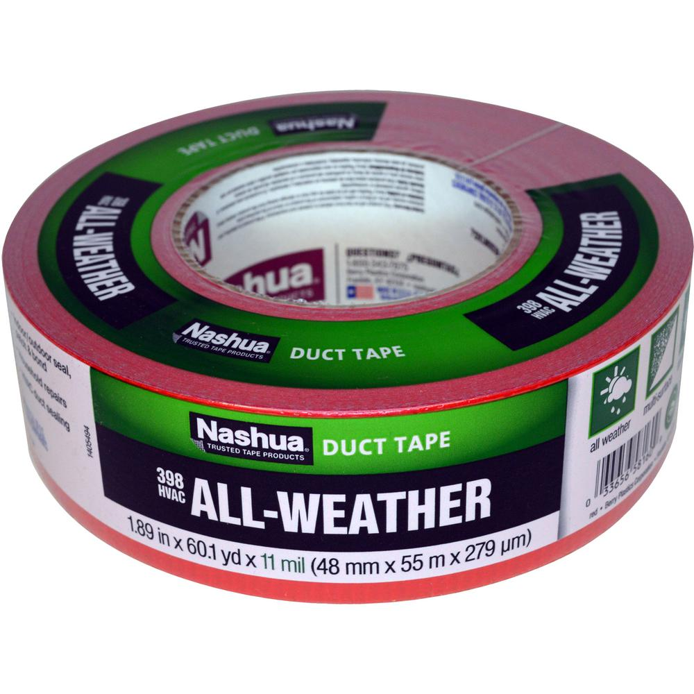 nashua tape 189 in x 60 yd 398 allweather hvac duct tape in red1207798 the home depot