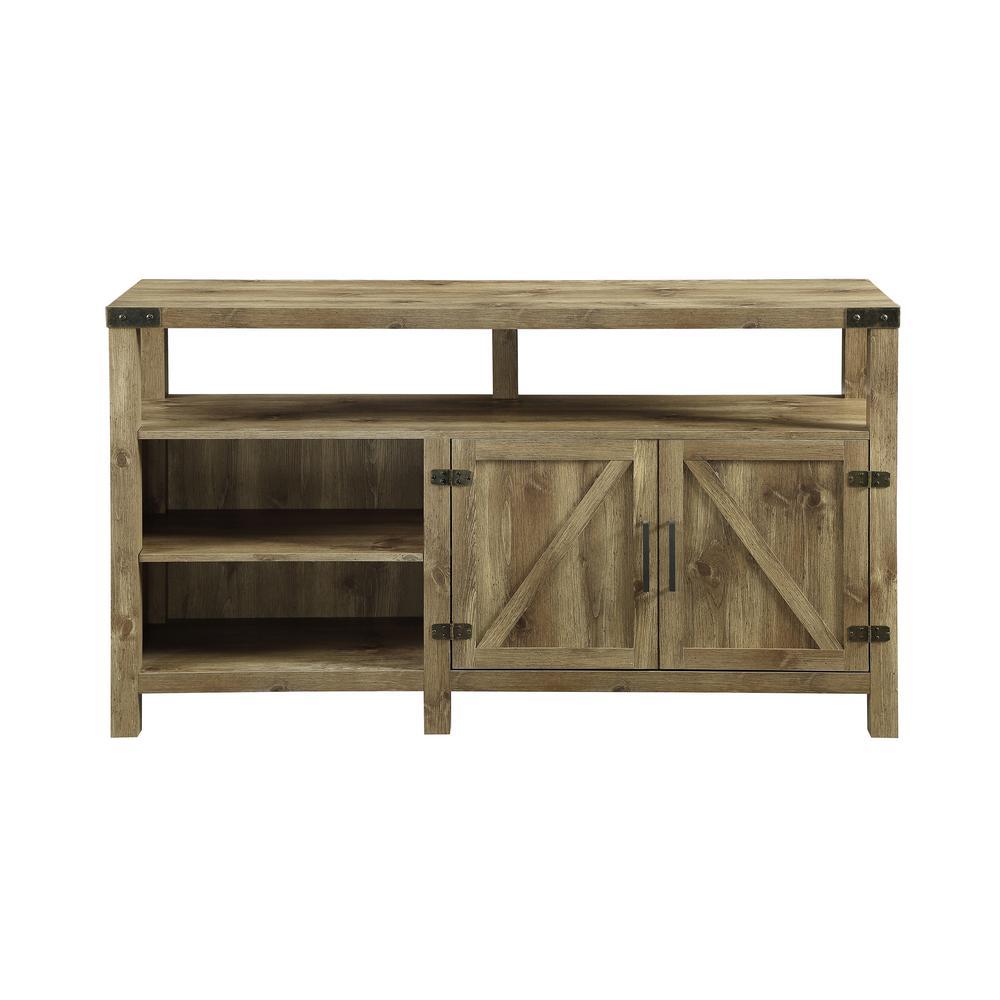 Walker Edison Furniture Company 58 In Barnwood Barndoor Highboy Console Hd58bdhbbw The Home Depot