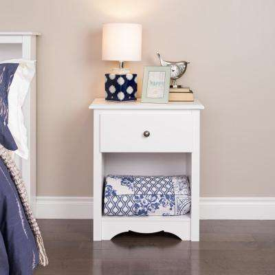 Monterey 1-Drawer White Nightstand