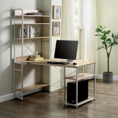 55 in. Rectangular Oak/White Computer Desk with Hutch