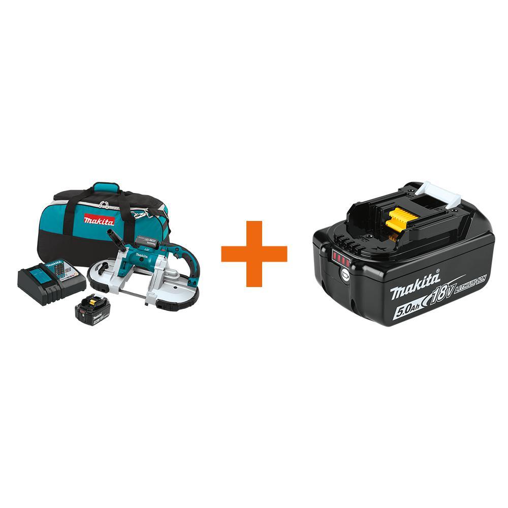 Makita 18-Volt LXT 5.0Ah Lithium-Ion Cordless Portable Band Saw Kit w/ bonus 18-Volt LXT Lithium-Ion Battery Pack 5.0Ah