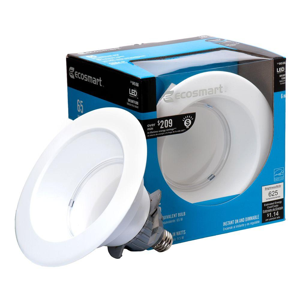 EcoSmart 65W Equivalent Daylight (5000K) BR30 6 in. Dimmable LED Downlight