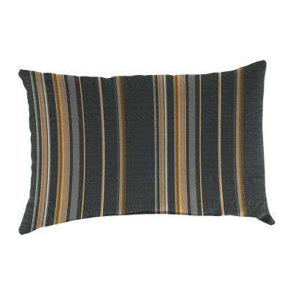 Sunbrella 19 in. x 12 in. Stanton Greystone Lumbar Outdoor Throw Pillow