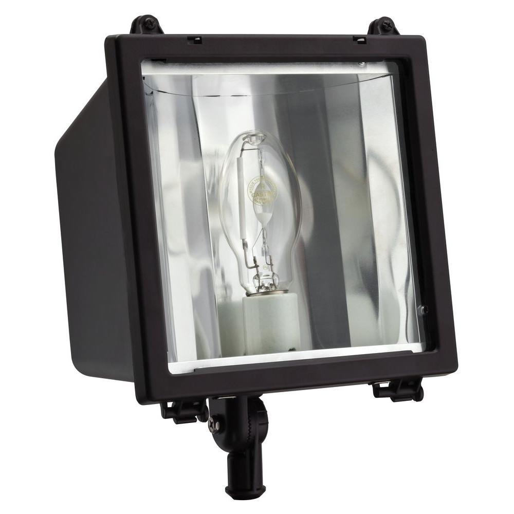 Lithonia Lighting Commercial Grade 150 Watt Bronze Outdoor Metal Halide Flood Light Oflc 150m Tb Lpi M4 The Home Depot
