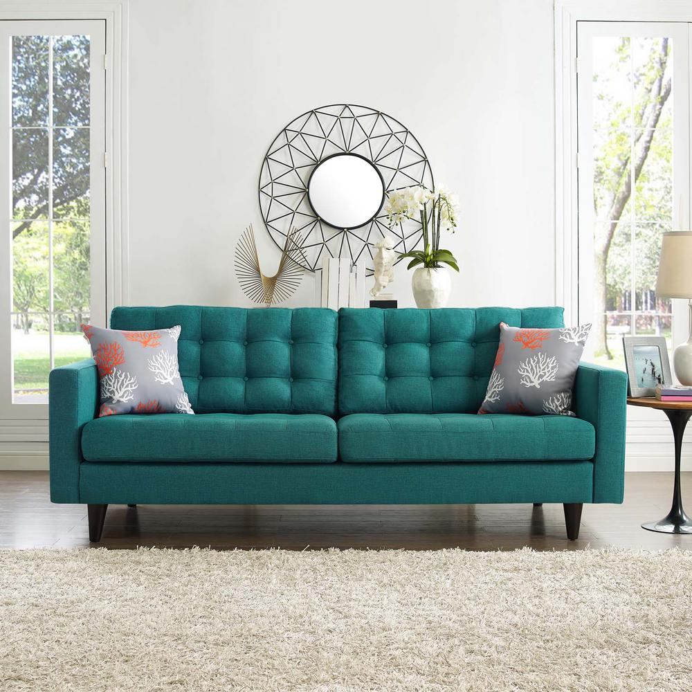 Fabric Furniture: MODWAY Empress Teal Upholstered Fabric Sofa-EEI-1011-TEA