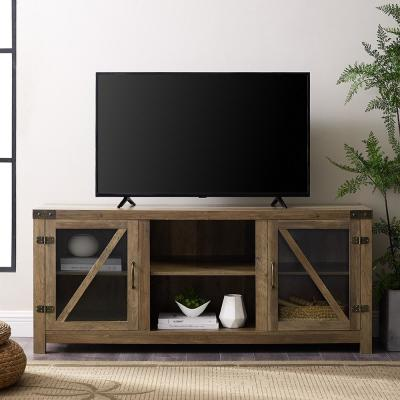 59 in. Rustic Oak Composite TV Stand 64 in. with Doors