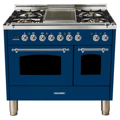 40 in. 4.0 cu. ft. Double Oven Dual Fuel Italian Range with True Convection, 5 Burners, Griddle, Chrome Trim in Blue