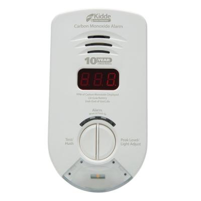 10-Year Worry Free Plug-In Carbon Monoxide Detector with Battery Backup, Digital Display, and Safety Light