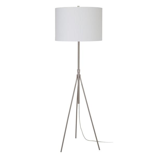 Urbanflip 73 In Silver Tripod Floor Lamp With White Drum Shade Jm90 Sh31171fsg The Home Depot