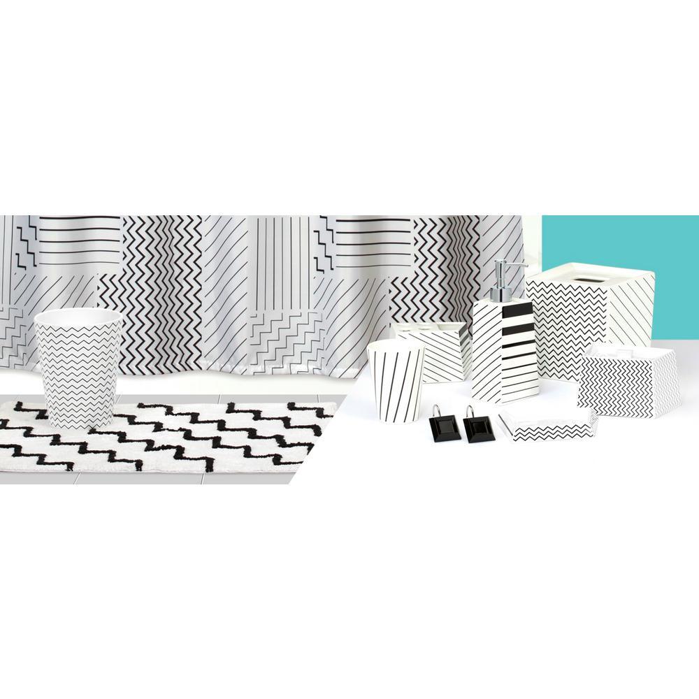 Modern Angles' 6-Piece Contemporary Ceramic Bath Accessory Set in White/Black/Grey