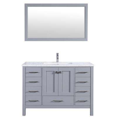 Aberdeen 41.3 in. W x 22 in. D x 35 in. H Vanity in Grey with Carrara Marble Vanity Top in White with White Basin