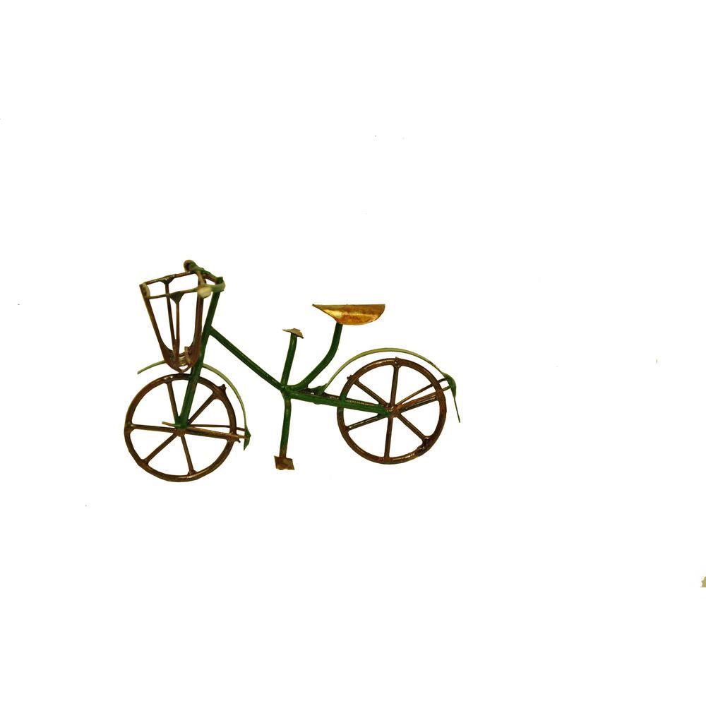 MiniGardenn Fairy Garden Miniature Green Mini Bicycle Outdoor Statue