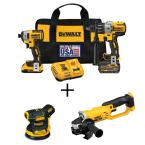 20-Volt MAX Cordless Brushless Combo Kit (2-Tool) w/ Bonus 5 in. Sander & 4-1/2 to 5 in. Grinder (Tools-Only)