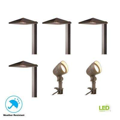 Low Voltage Bronze Outdoor Integrated LED Landscape Light Kit With 2 Flood  Lights And 4