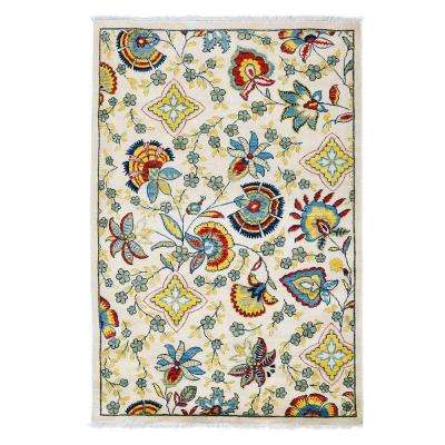 Suzani Ivory 4 ft. x 6 ft. Indoor Area Rug