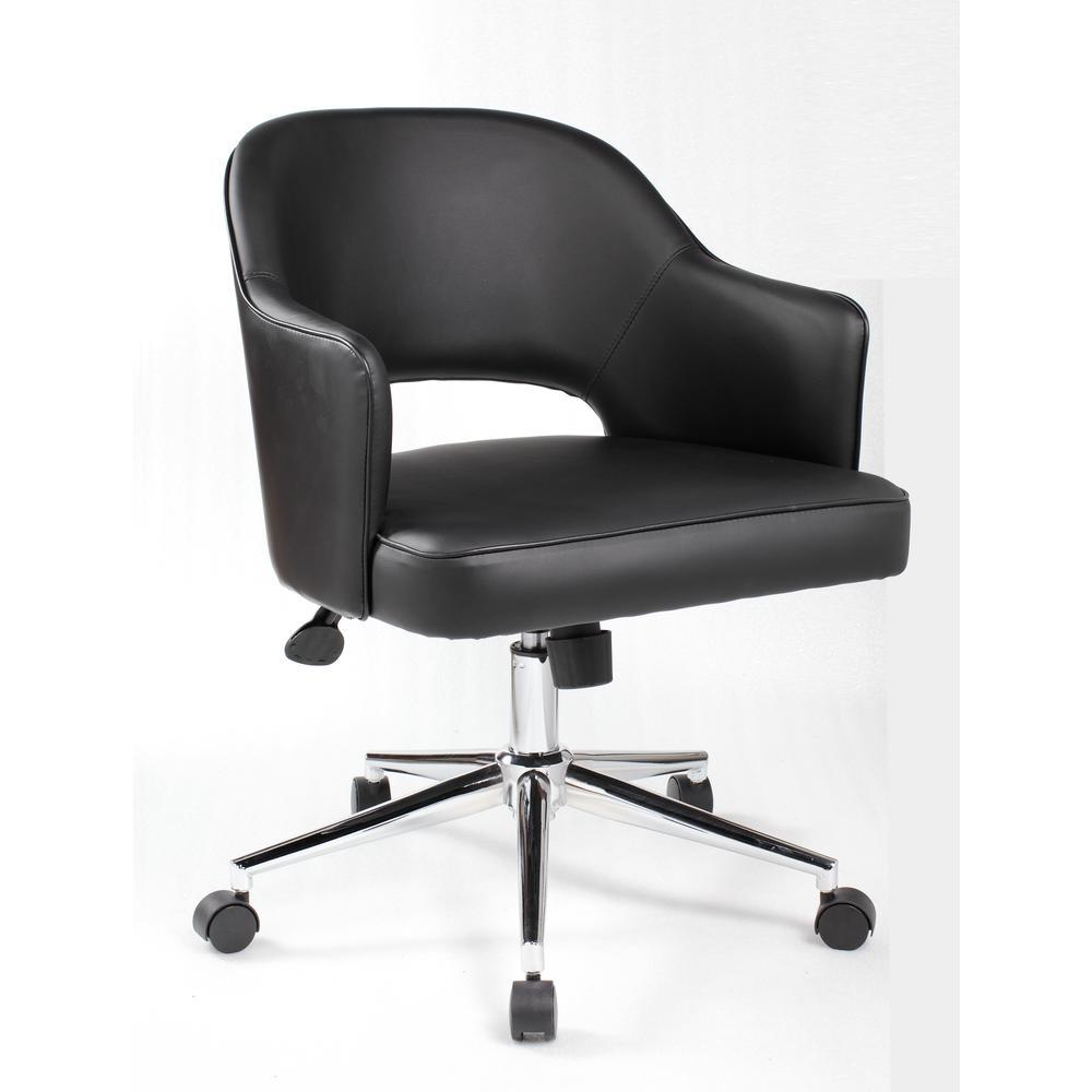 Designer Style Desk Chair. Black Caressoft Vinyl. High Crown Chrome Finish Base. Pneumatic Lift