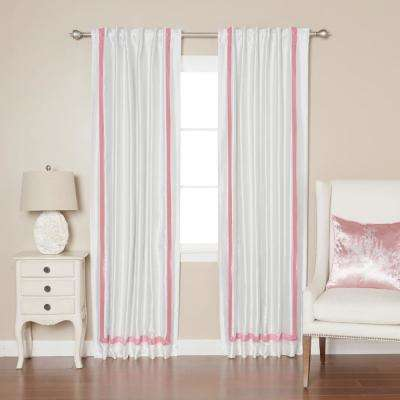 84 in. L Pink Border Faux Silk Blackout Curtain Panel (2-Pack)