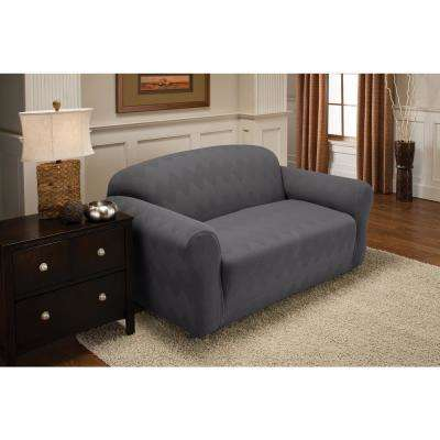 Grey Optic Loveseat Stretch Slipcover
