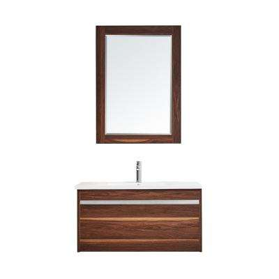 Thomas 36 in. W x 18 in. D Bath Vanity in Walnut with Quartz Vanity Top in White with White Basin and Mirror