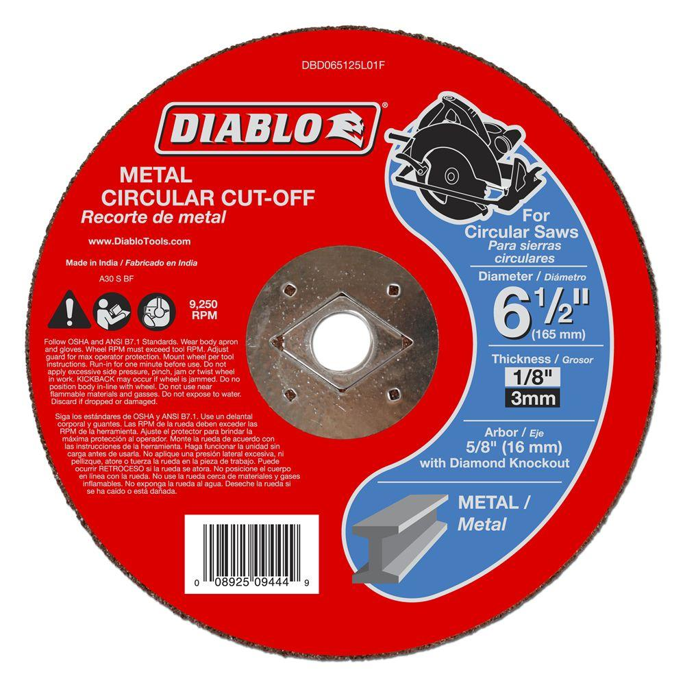 Cut-Off Wheels 6-1//2 in x 1//8 in x 5//8 in Metal Disc For Angle Grinder 5-Pack