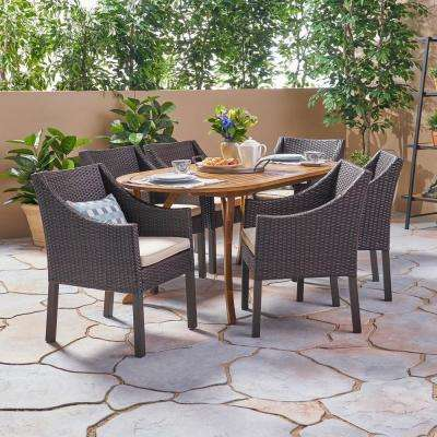 Vermont Multi-Brown 7-Piece Wood and Wicker Outdoor Dining Set with Beige Cushions