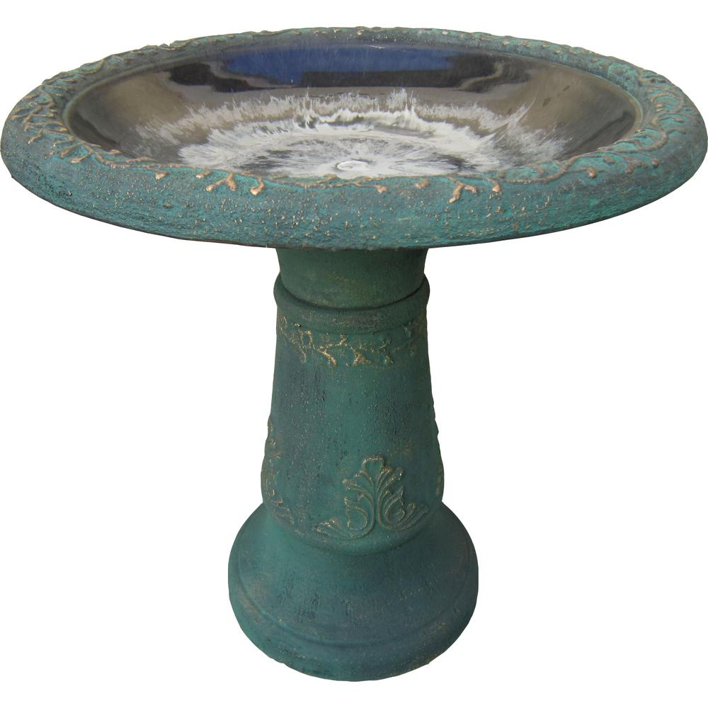 19-1/2 in. x 11-1/2 in. x 20-1/2 in. Fiberclay Green Birdbath
