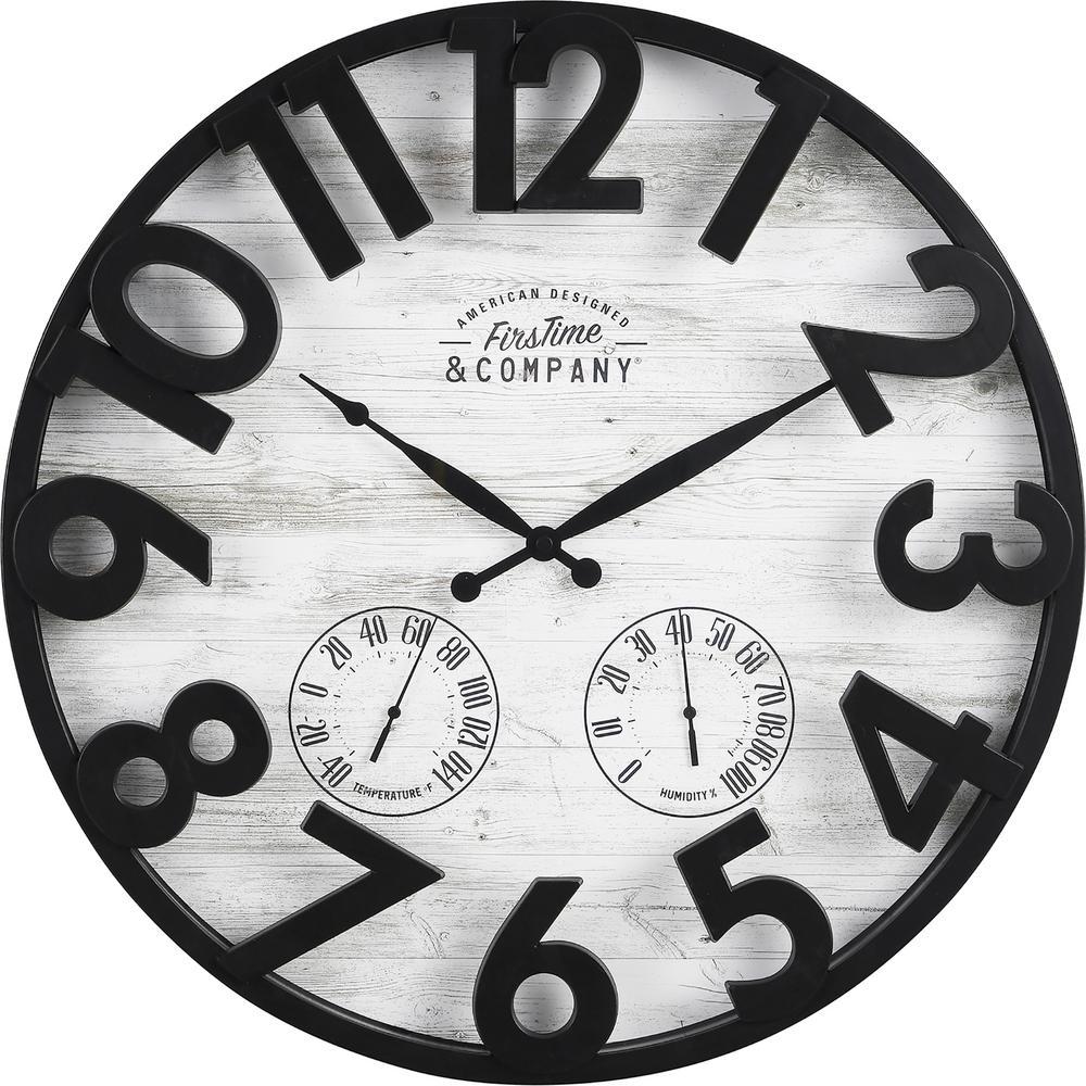 Sherwood Shiplap Farmhouse Oil Rubbed Bronze Outdoor Clock