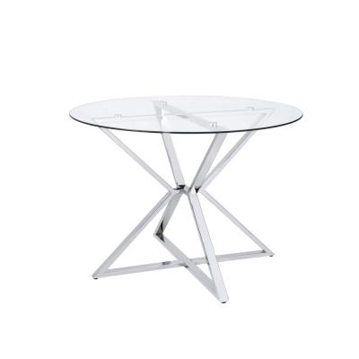 Kapela 41.5 in. Chrome and Glass Round Dining Table