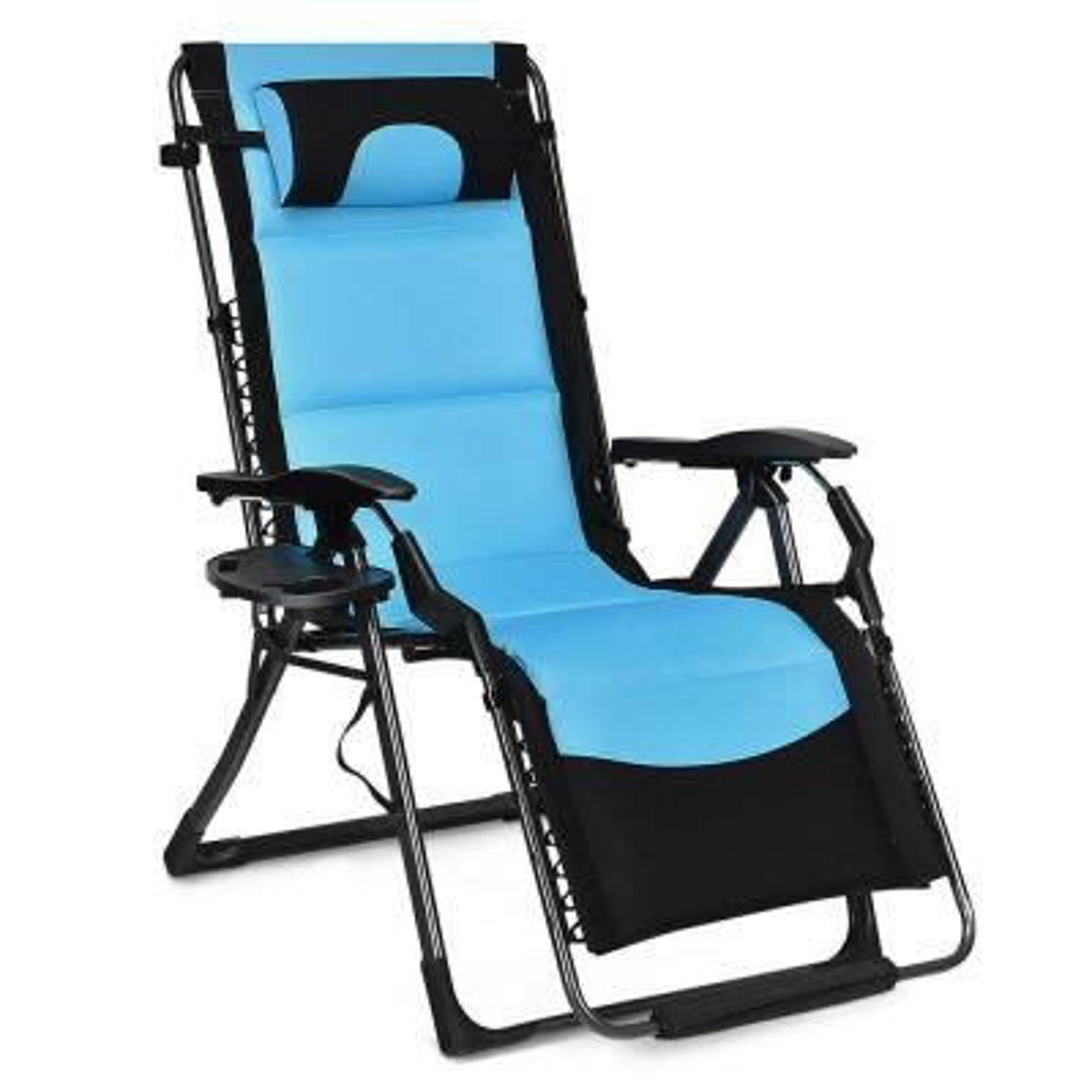 Folding Padded Zero Gravity Metal Outdoor Lounge Chair