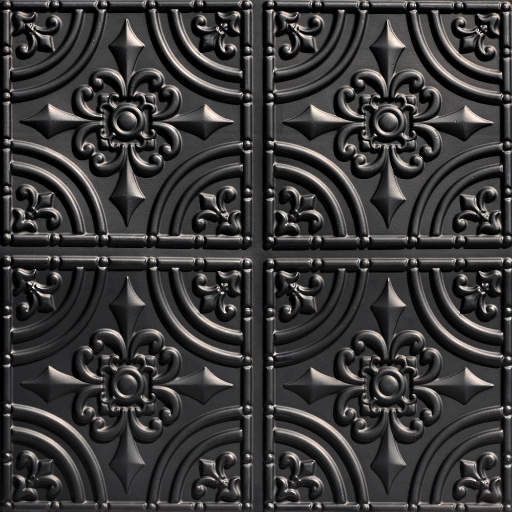 From Plain To Beautiful In Hours Wrought Iron 2 ft. x 2 ft. PVC Glue-up Ceiling Tile in Black