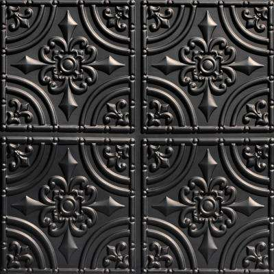 Wrought Iron 2 ft. x 2 ft. PVC Glue-up Ceiling Tile in Black