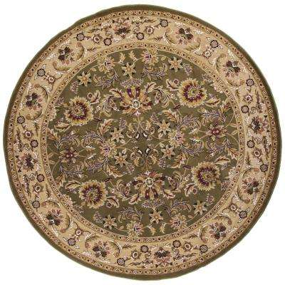 Caleb Green/Taupe 8 ft. Round Area Rug
