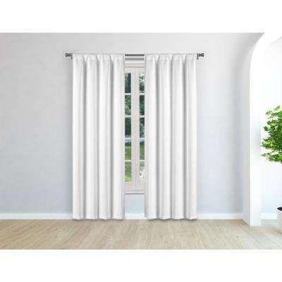 Audrey White Room Darkening Pole Top Panel Pair - 38 in. W x 96 in. L in (2-Piece)