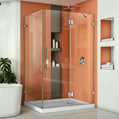 Quatra Lux 46-3/8 in. W x 34-1/4 in. D x 72 in. H Frameless Corner Hinged Shower Enclosure in Chrome