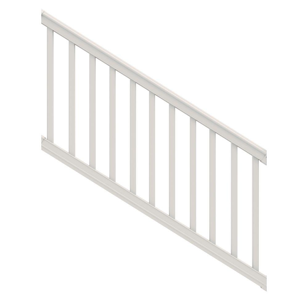 White Vinyl Stair Rail with Square Balusters
