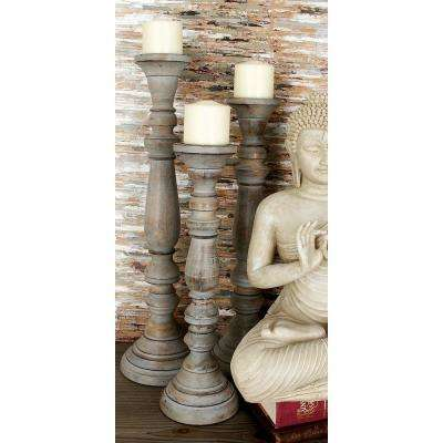Walnut Mango Wood and Iron Candle Holder (Set of 3)