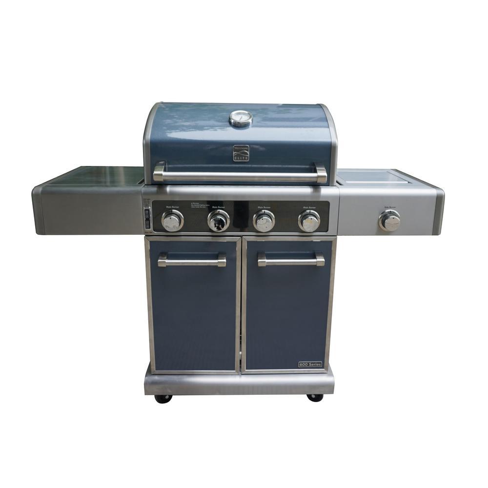 kenmore bbq grill. kenmore elite 4 burner grill plus side in metallic gun metal kenmore bbq