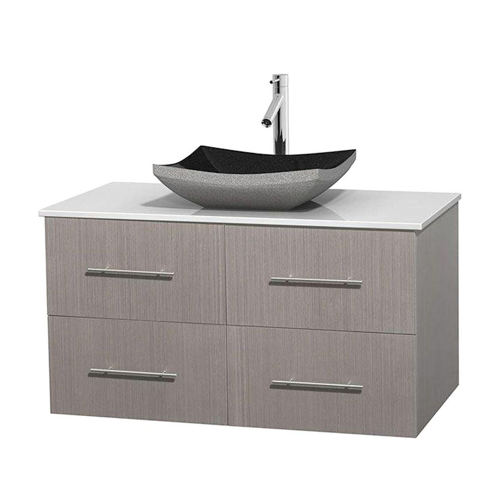 Wyndham Collection Centra 42 in. Vanity in Gray Oak with Solid-Surface Vanity Top in White and Black Granite Sink