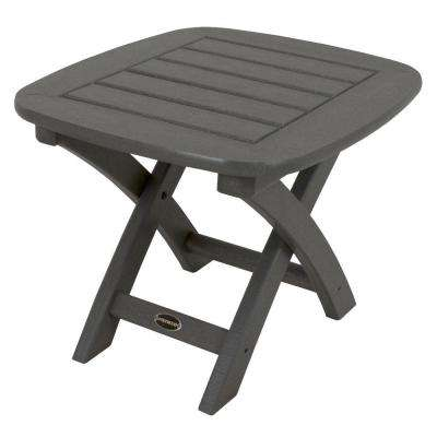 Nautical 21 in. x 18 in. Slate Grey Plastic Outdoor Patio Side Table